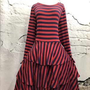 Lularoe Georgia Red Navy Striped Boho Flare Dress